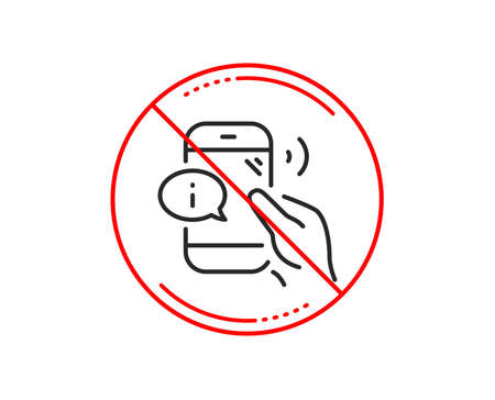 No or stop sign. Call center service line icon. Phone support sign. Feedback info symbol. Caution prohibited ban stop symbol. No  icon design.  Vector Illustration