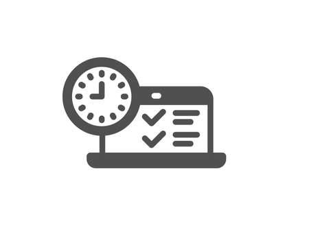 Online test icon. Time sign. Examination symbol. Quality design element. Classic style icon. Vector Banque d'images - 125609591
