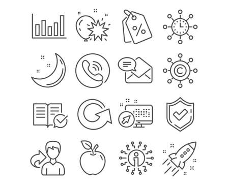 Set of Column chart, World time and New mail icons. Approved documentation, Reload and Discount tags signs. Copywriting network, Balloon dart and Startup rocket symbols. Vector