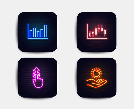 Neon set of Column chart, Candlestick graph and Swipe up icons. Sun protection sign. Financial graph, Finance chart, Touch technology. Ultraviolet care. Neon icons. Glowing light banners