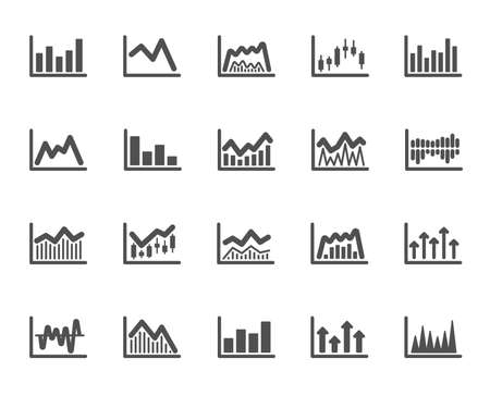 Financial chart icons. Set of Candle stick graph, Report diagram and Infochart icons. Growth, Trade and Investment chart. Stock exchange, Candlestick and financial diagram graph. Vector