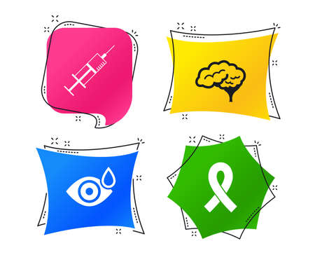 Medicine icons. Syringe, eye with drop, brain and ribbon signs. Breast cancer awareness symbol. Human smart mind. Geometric colorful tags. Banners with flat icons. Trendy design. Vector