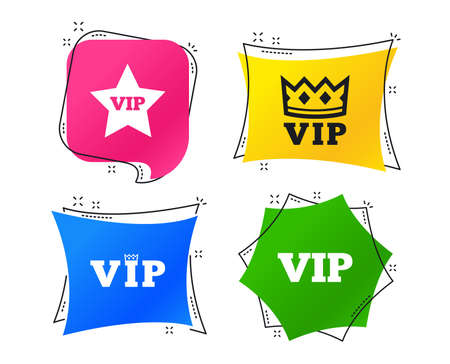 VIP icons. Very important person symbols. King crown and star signs. Geometric colorful tags. Banners with flat icons. Trendy design. Vector Çizim