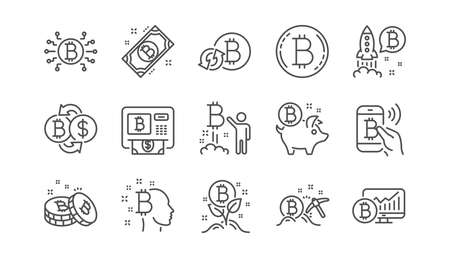 Bitcoin line icons. Blockchain, Crypto ICO and Cryptocurrency. Mining linear icon set.  Vector Ilustracja