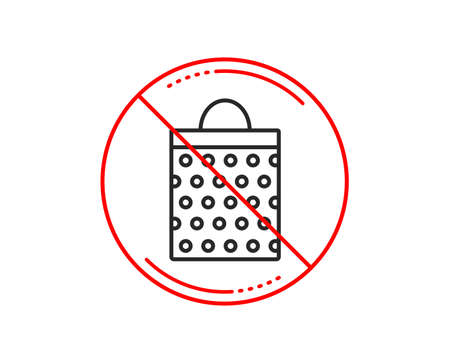 No or stop sign. Shopping bag with circles line icon. Present or Sale sign. Birthday Shopping symbol. Package in Gift Wrap. Caution prohibited ban stop symbol. No  icon design.  Vector Stock Vector - 116300141
