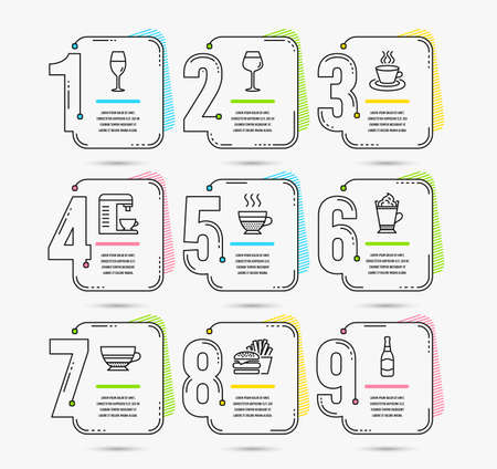 Infographic timeline set of Mocha, Tea cup and Wineglass icons. Latte coffee, Bordeaux glass and Burger signs. Coffee machine, Cafe creme and Beer bottle symbols. Vector Stock Vector - 116242843