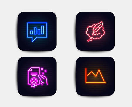 Neon set of Analytical chat, Copyright chat and Certificate icons. Line chart sign. Communication speech bubble, Speech bubble, Certified guarantee. Financial graph. Neon icons. Vector Illustration