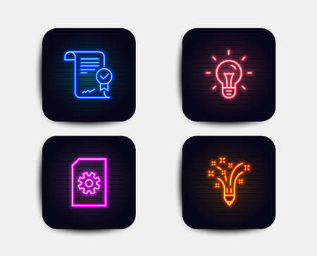 Neon glow lights. Set of Idea, Approved agreement and File management icons. Inspiration sign. Light bulb, Verified document, Doc with cogwheel. Creativity pencil.  Neon icons. Glowing light banners