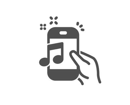 Music in phone icon. Mobile radio sign. Musical device symbol. Quality design element. Classic style icon. Vector