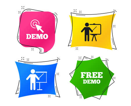 Demo with cursor icon. Presentation billboard sign. Man standing with pointer symbol. Geometric colorful tags. Banners with flat icons. Trendy design. Vector
