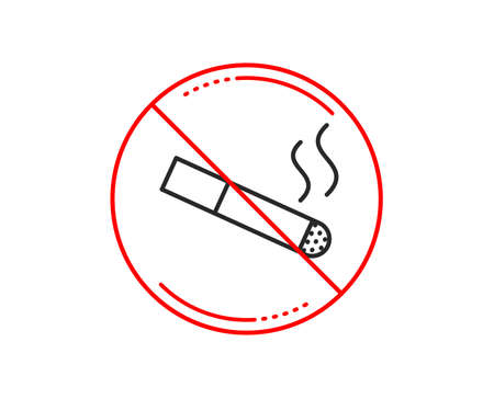 No or stop sign. Smoking area line icon. Cigarette sign. Smokers zone symbol. Caution prohibited ban stop symbol. No  icon design.  Vector