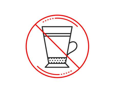 No or stop sign. Latte coffee icon. Hot drink sign. Beverage symbol. Caution prohibited ban stop symbol. No  icon design.  Vector