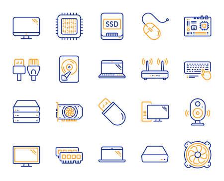 Composants informatiques, ordinateur portable, icônes de ligne SSD. Carte mère, CPU, icônes de câbles Internet. Routeur Wifi, écran d'ordinateur, carte graphique. Clavier, périphérique SSD. Câbles Internet, composants d'ordinateurs portables. Vecteur