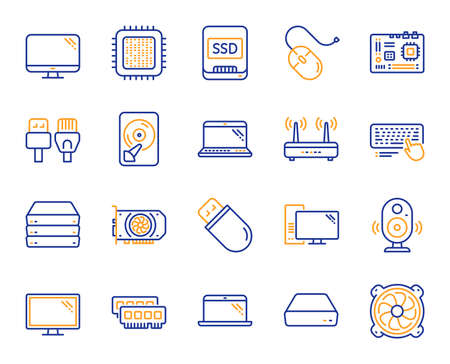 Computer components, Laptop, SSD line icons. Motherboard, CPU, Internet cables icons. Wifi router, computer monitor, Graphic card. Keyboard, SSD device. Internet cables, laptop components. Vector Reklamní fotografie - 116300225