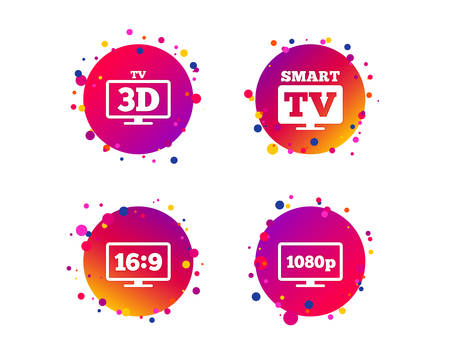 Smart TV mode icon. Aspect ratio 16:9 widescreen symbol. Full hd 1080p resolution. 3D Television sign. Gradient circle buttons with icons. Random dots design. Vector