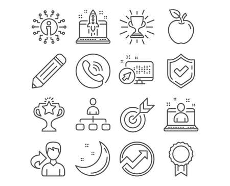 Set of Audit, Best manager and Management icons. Reward, Victory and Trophy signs. Pencil, Target and Start business symbols. Arrow graph, Best developer, Agent. Vector