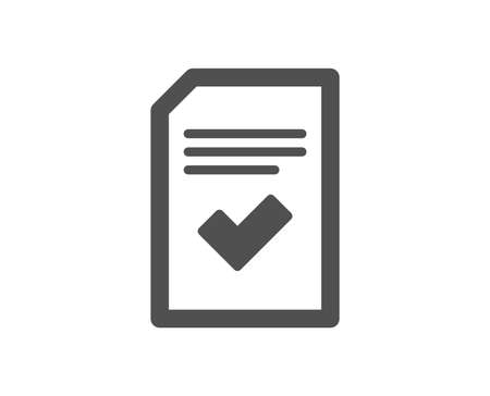 Checked Document icon. Information File with Check sign. Correct Paper page concept symbol. Quality design element. Classic style icon. Vector Reklamní fotografie - 116242810