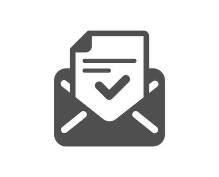 Approved mail icon. Accepted or confirmed sign. Document symbol. Quality design element. Classic style icon. Vector