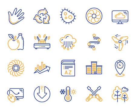 Company building, Vocabulary, Profits timeline line icons. Turbine, Wind, Thermostat icons. Tree, Bacteria, Healthy food. Company chart, wind turbine. Cloud services, Timeline, Download. Vector Illustration