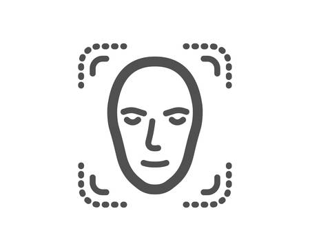 Face detection icon. Head recognition sign. Identification symbol. Quality design element. Classic style icon. Vector