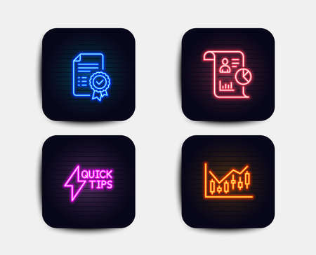 Neon set of Certificate, Quickstart guide and Report icons. Financial diagram sign. Verified document, Lightning symbol, Work statistics. Candlestick chart. Neon icons. Vector