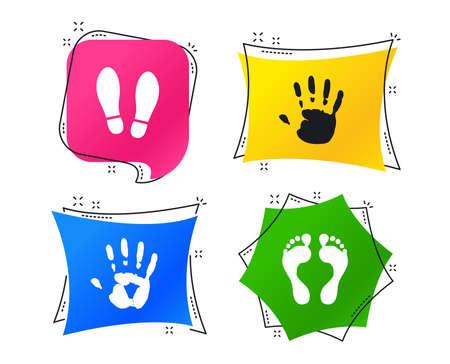 Icônes d'empreinte de main et de pied. Imprimez les chaussures et les symboles aux pieds nus. Arrêtez n'entrez pas de signe. Balises géométriques colorées. Bannières avec des icônes plates. Conception à la mode. Vecteur