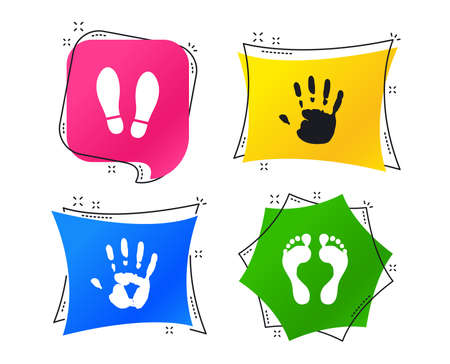 Hand and foot print icons. Imprint shoes and barefoot symbols. Stop do not enter sign. Geometric colorful tags. Banners with flat icons. Trendy design. Vector