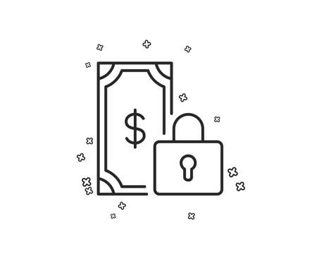 Private payment line icon. Dollar sign. Finance symbol. Geometric shapes. Random cross elements. Linear Private payment icon design. Vector  イラスト・ベクター素材