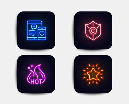 Neon glow lights. Set of Hot sale, Social media and Copyright protection icons. Rank star sign. Shopping flame, Mobile devices, Shield. Best result.  Neon icons. Glowing light banners. Vector
