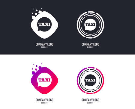 Taxi speech bubble sign icon. Public transport symbol. Colorful buttons with icons. Vector