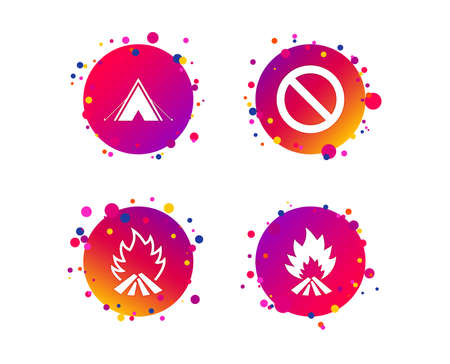 Tourist camping tent icon. Fire flame and stop prohibition sign symbols. Gradient circle buttons with icons. Random dots design. Vector