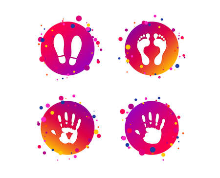 Hand and foot print icons. Imprint shoes and barefoot symbols. Stop do not enter sign. Gradient circle buttons with icons. Random dots design. Vector Illustration