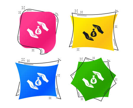 Hands insurance icons. Money bag savings insurance symbols. Hands protect cash. Currency in dollars, yen, pounds and euro signs. Geometric colorful tags. Banners with flat icons. Trendy design. Vector