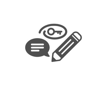 Keywords icon. Pencil with key symbol. Marketing strategy sign. Quality design element. Classic style icon. Vector