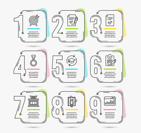 Infographic timeline set of Shop, Archery and Continuing education icons. Approved checklist, Rfp and Elevator signs. Medal, Approved agreement and Marketing statistics symbols Illustration