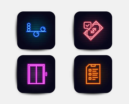 Neon glow lights. Set of Balance, Lift and Accepted payment icons. Checklist sign. Concentration, Elevator, Bank transfer. Data list.  Neon icons. Glowing light banners. Vector