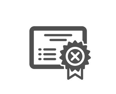 Reject certificate icon. Decline document sign. Wrong file. Quality design element. Classic style icon. Vector