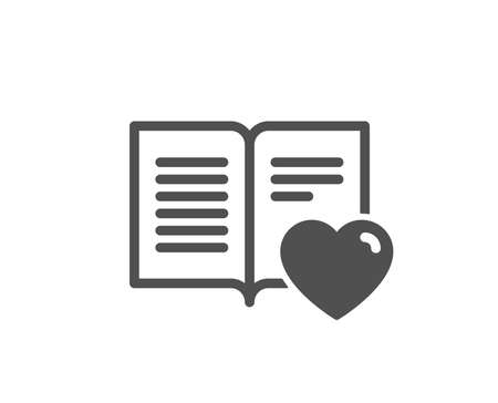 Love book icon. Feedback sign. Customer satisfaction symbol. Quality design element. Classic style icon. Vector