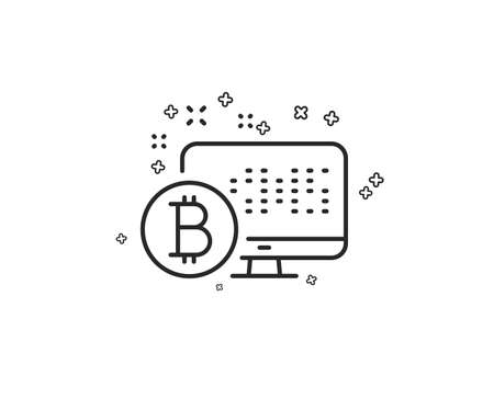 Bitcoin line icon. Cryptocurrency monitor sign. Crypto money symbol. Geometric shapes. Random cross elements. Linear Bitcoin system icon design. Vector Ilustracja