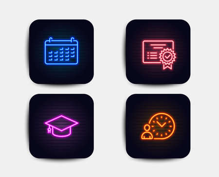 Neon glow lights. Set of Calendar, Graduation cap and Certificate icons. Time management sign. Business audit, University, Verified document. Work time.  Neon icons. Glowing light banners. Vector