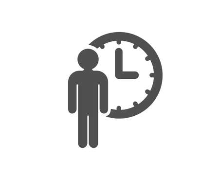 Person waiting icon. Service time sign. Clock symbol. Quality design element. Classic style icon. Vector