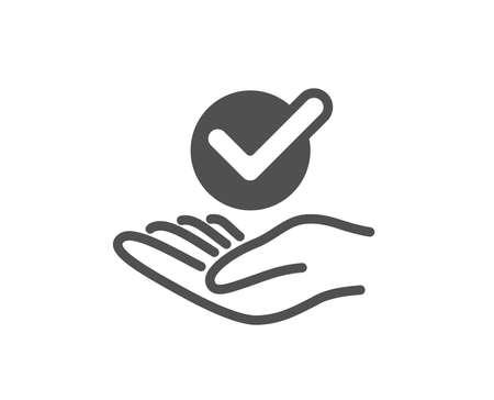 Icône approuvée. Signe accepté ou confirmé. Symbole vérifié. Élément de conception de qualité. Icône de style classique. Vecteur Vecteurs