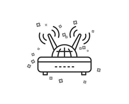 Wifi router line icon. Computer component sign. Internet symbol. Geometric shapes. Random cross elements. Linear Wifi icon design. Vector Illustration