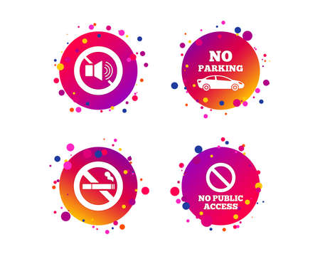 Stop smoking and no sound signs. Private territory parking or public access. Cigarette symbol. Speaker volume. Gradient circle buttons with icons. Random dots design. Vector Stock Illustratie