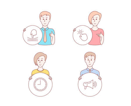 People hand drawn style. Set of Elastic, Touchpoint and Time icons. Megaphone sign. Resilience, Touch technology, Office clock. Advertisement.  Character hold circle button. Man with like hand. Vector