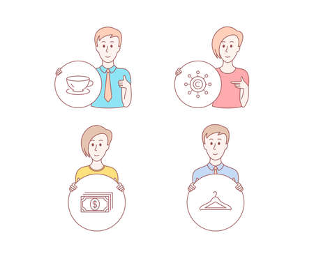 People hand drawn style. Set of Espresso, Payment and Copywriting network icons. Cloakroom sign. Coffee cup, Finance, Content networking. Hanger wardrobe.  Character hold circle button. Vector
