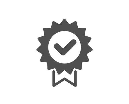 Certificate icon. Verified award sign. Accepted or confirmed symbol. Quality design element. Classic style icon. Vector