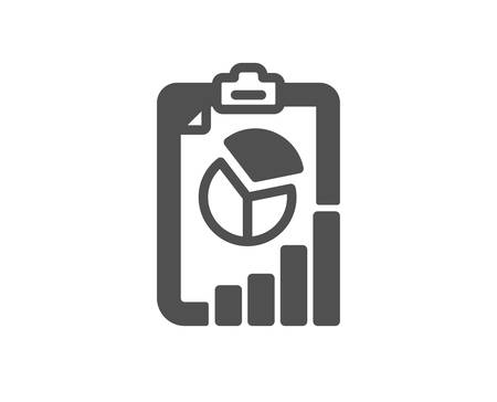 Report icon. Column graph, pie chart sign. Market analytics symbol. Quality design element. Classic style icon. Vector