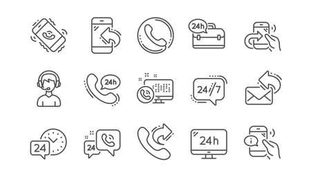 Symbole für die Verarbeitungslinie. Callcenter, Support und Chatnachricht. 24 Stunden Service linearer Icon-Set Vektor