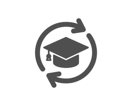Icono de educación continua. Signo de educación en línea. Elemento de diseño de calidad. Icono de estilo clásico. Vector Ilustración de vector